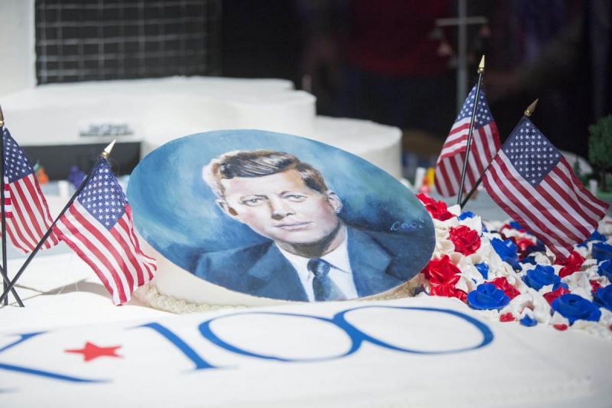 Part of the 360kg cake shaped like the John F. Kennedy Presidential Library to mark the 100th anniversary of the birth of the late President on May 29.