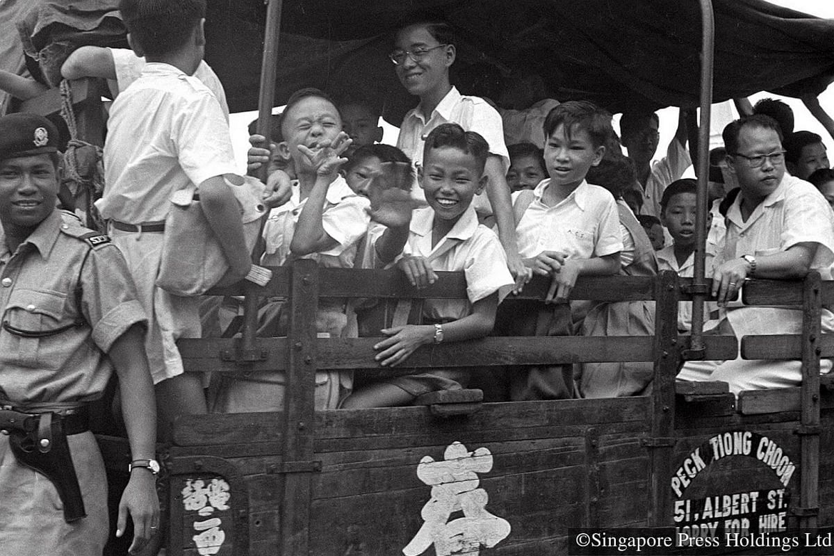 1955: Lorries were used to ferry children to school when there were strikes by the bus companies.