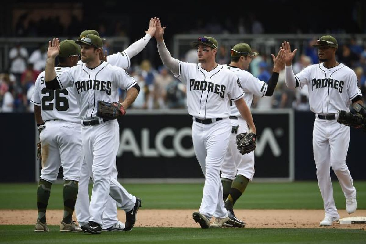 Players in the US Major League Baseball teams wearing special uniforms to commemorate Memorial Day. San Diego Padres defeated the Chicago Cubs 5-2 in a game in San Diego, California, on Monday (May 29). PHOTO: AFP