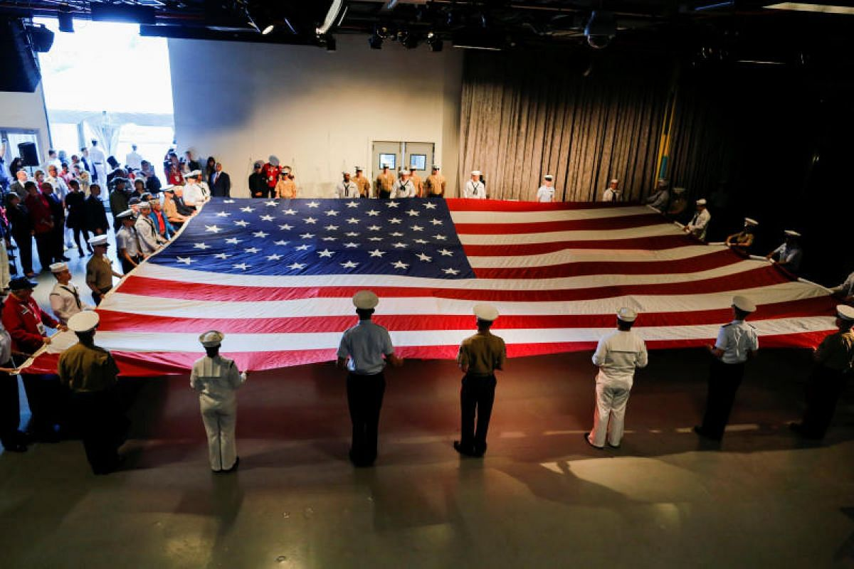 Members of the US Army at an annual Memorial Day commemoration ceremony at the Intrepid museum in New York on Monday (May 29). PHOTO: REUTERS