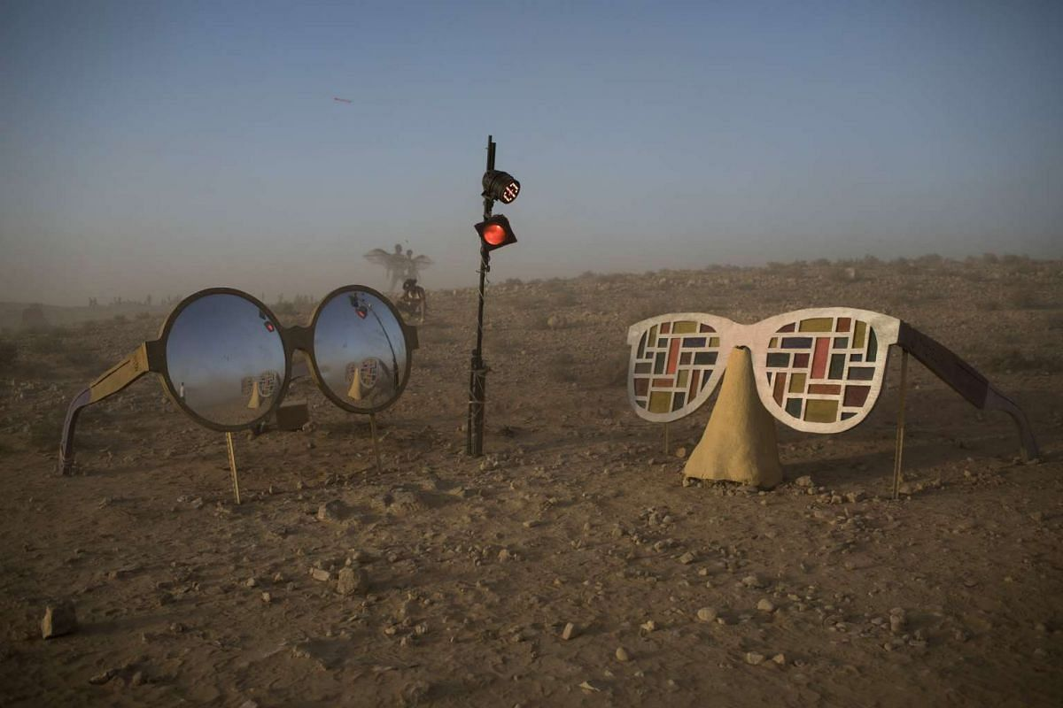 An art installation during the Israel Midburn Festival in the Negev desert southern Israel on May 30, 2017.