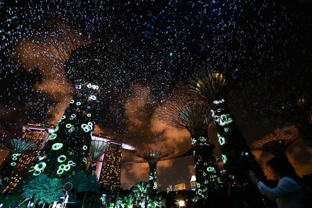 The Supertree Grove came alive during a full-dress rehearsal of the Gardens Extravaganza Special on May 30.