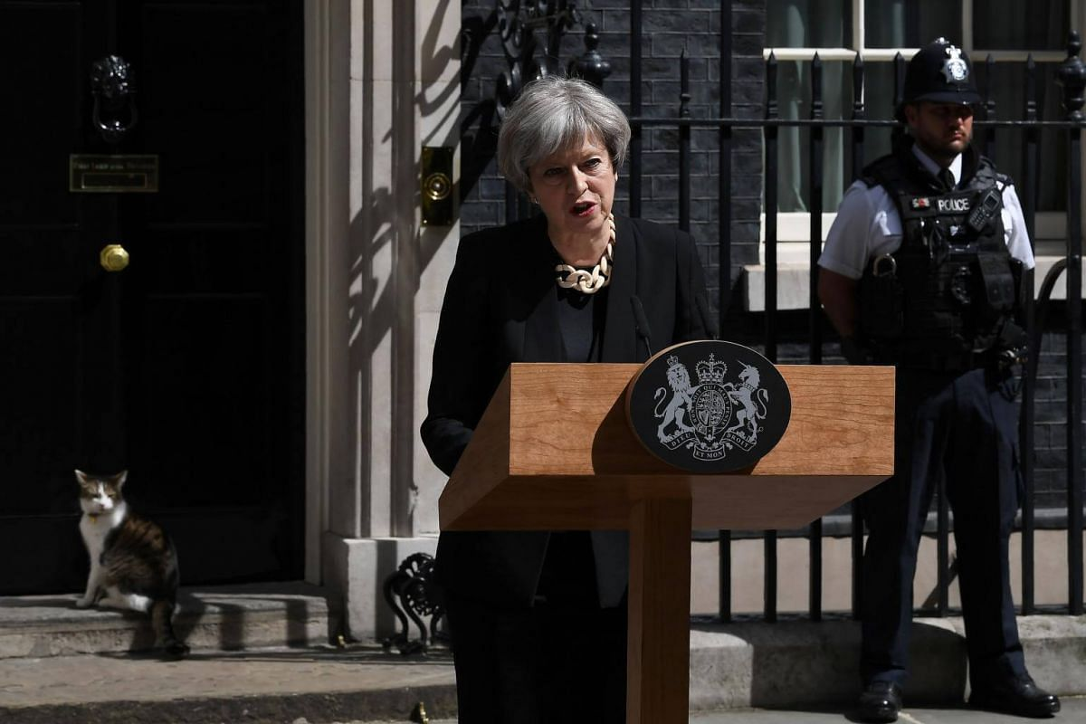 British PM Theresa May delivering a statement outside 10 Downing Street following the attack on London Bridge, on June 4, 2017.