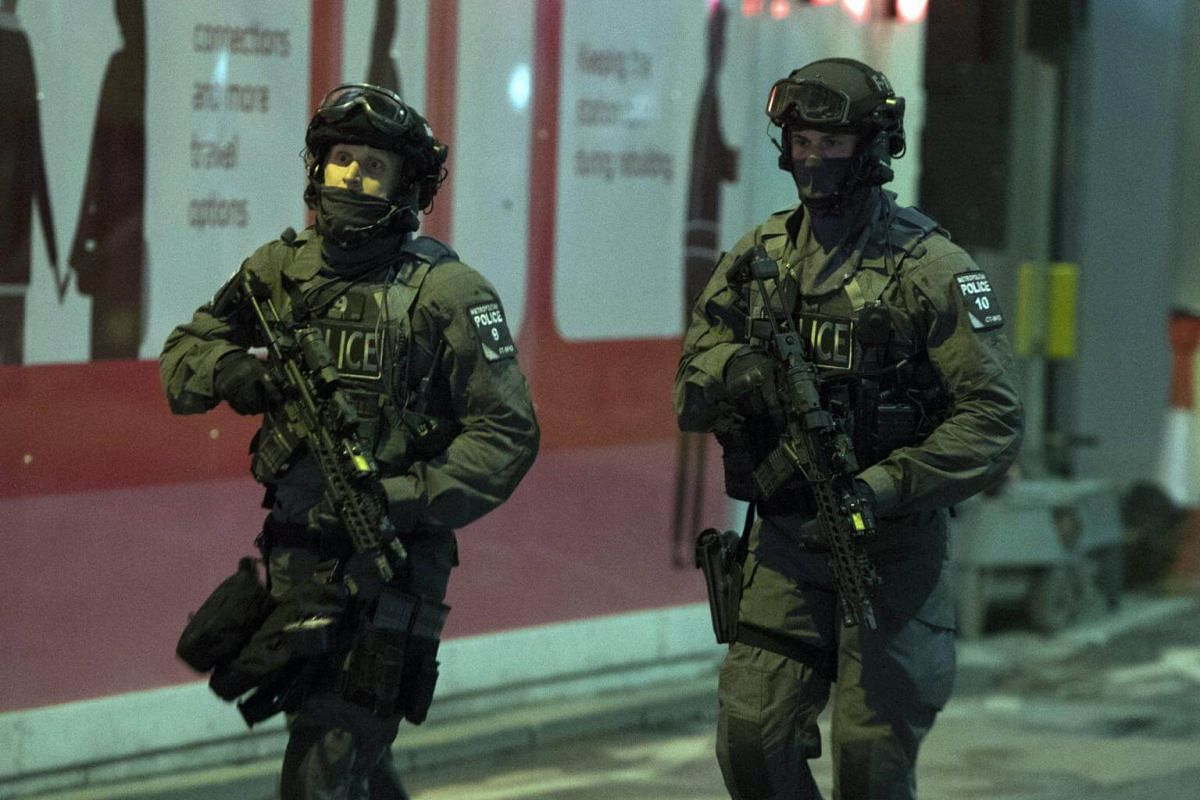 Heavily armed police officers patrolling near London Bridge after the attack on London Bridge, on June 3, 2017.