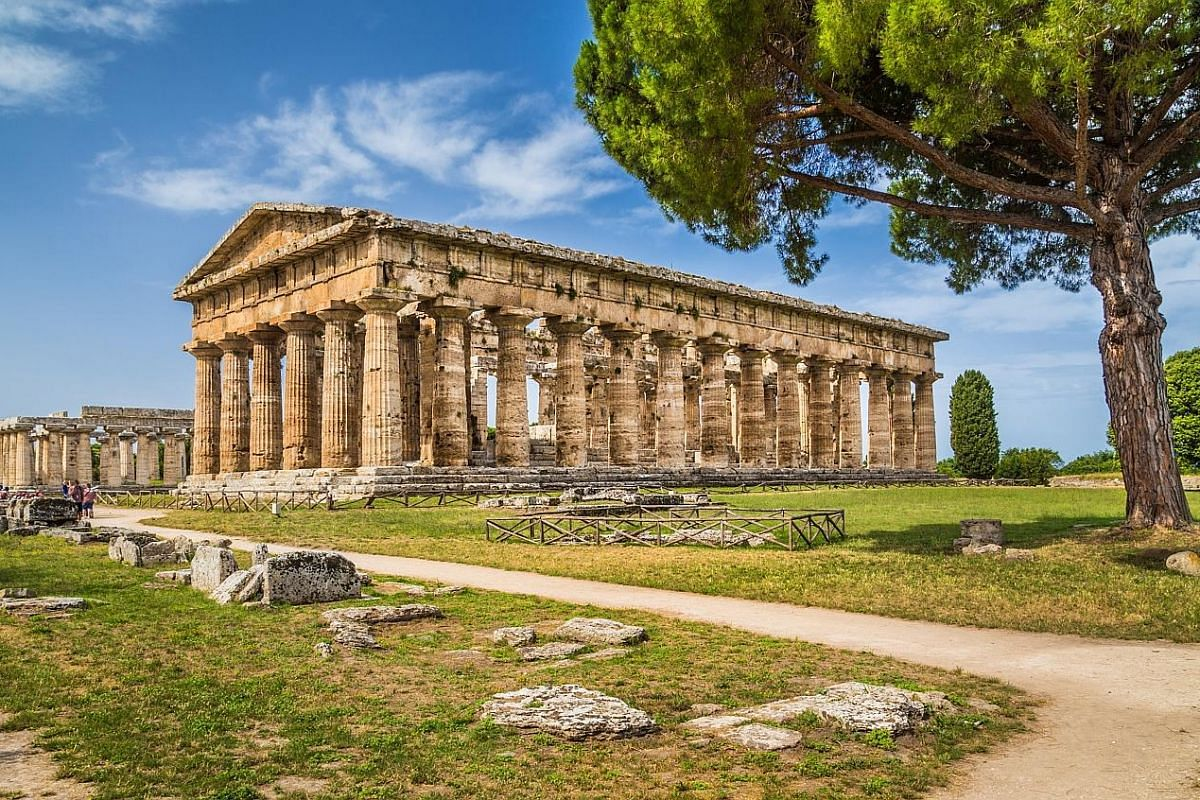 Paestum is a Unesco World Heritage Site containing some of the most well-preserved ancient Greek temples in the world, such as the Temple of Hera (above).