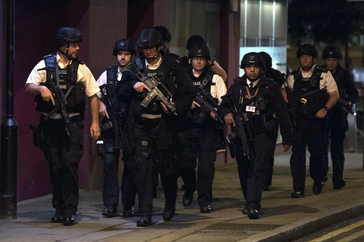 Police units at London Bridge after reports of a incident involving a van hitting pedestrian on London Bridge on June 3, 2017.