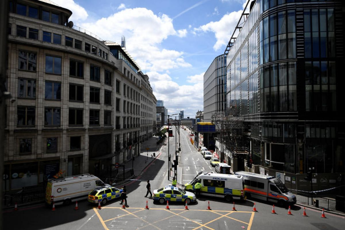 Police blocking access to London Bridge on Sunday (June 4) after the attack the night before.