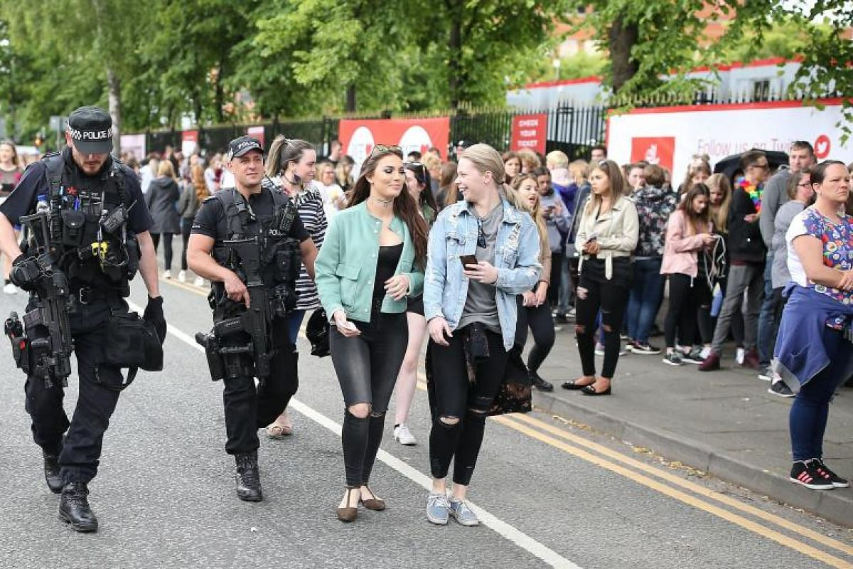 British police on patrol at US singer Ariana Grande's One Love Manchester concert at Old Trafford Cricket Ground in Manchester, Britain, on Sunday (June 4).