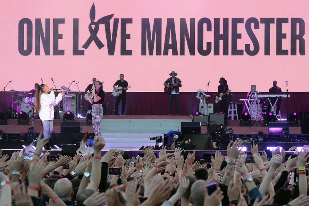 Ariana Grande (left) and Miley Cyrus were among stars who performed on Sunday (June 4) at the One Love Manchester benefit concert for victims of the Manchester Arena terror attack.