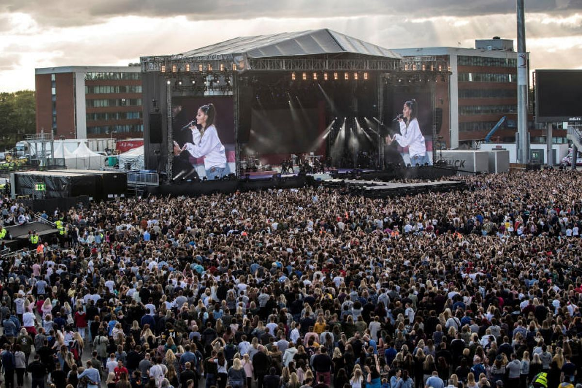 US singer Ariana Grande performing on Sunday (June 4) during the One Love Manchester benefit concert for victims of the Manchester Arena terror attack.