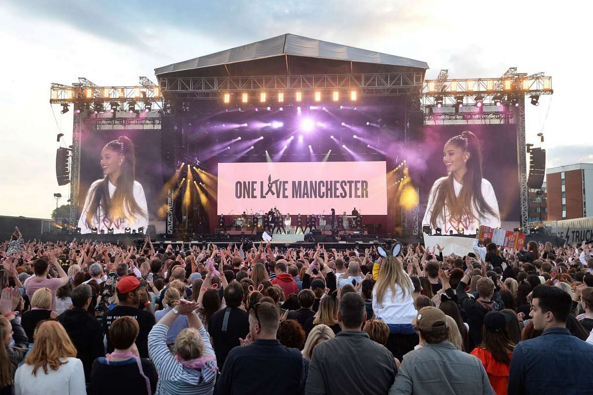 Ariana Grande performs during the One Love Manchester benefit concert for the victims of the Manchester Arena terror attack on June 4, 2017.