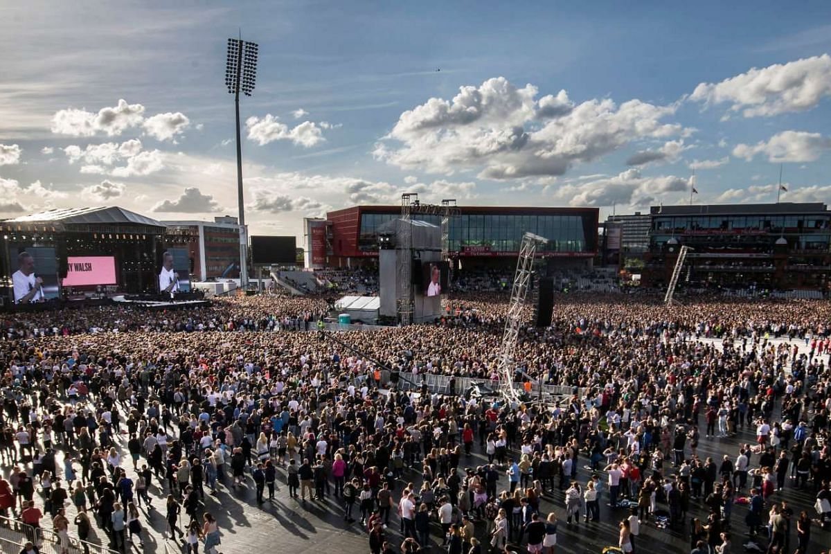The crowd ahead of the One Love Manchester benefit concert for the victims of the Manchester Arena terror attack on June 4, 2017.