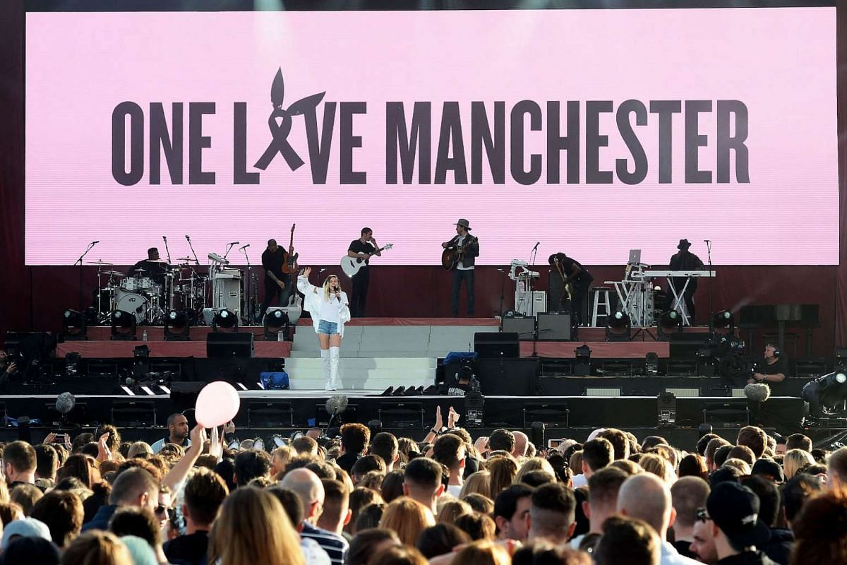 Miley Cyrus performs during the One Love Manchester benefit concert for the victims of the Manchester Arena terror attack on June 4, 2017.
