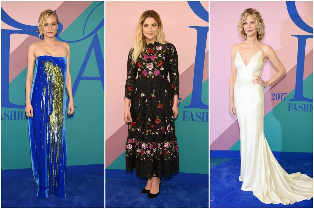 Actresses Diane Kruger, Ashley Benson and Meg Ryan lending their star power at the 2017 CFDA Fashion Awards in New York City on Monday (June 5).
