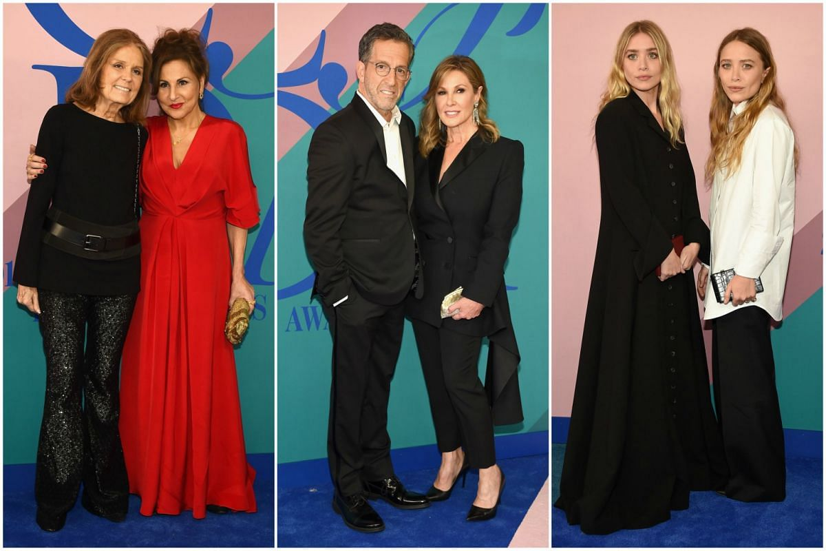 Feminist icon Gloria Steinem, actress Kathy Najimy, designer Kenneth Cole and his wife Maria Cuomo Cole, and the Olsen twins Ashley and Mary-Kate at the 2017 CFDA Fashion Awards in New York City on Monday (June 5). Kenneth Cole was the first recipien