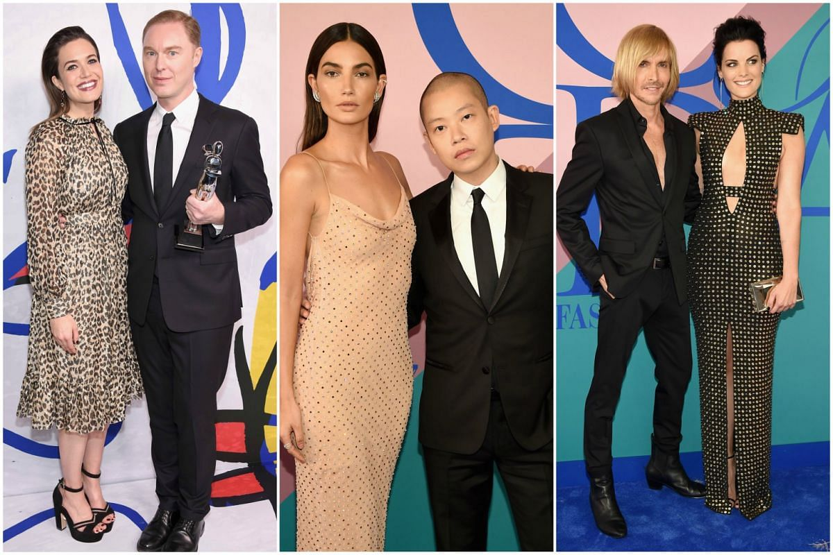 Actress Mandy Moore, designer Stuart Vevers of Coach, model Lily Aldridge, designers Jason Wu and Marc Bouwer and actress Jaimie Alexander at the 2017 CFDA Fashion Awards in New York City on Monday (June 5).