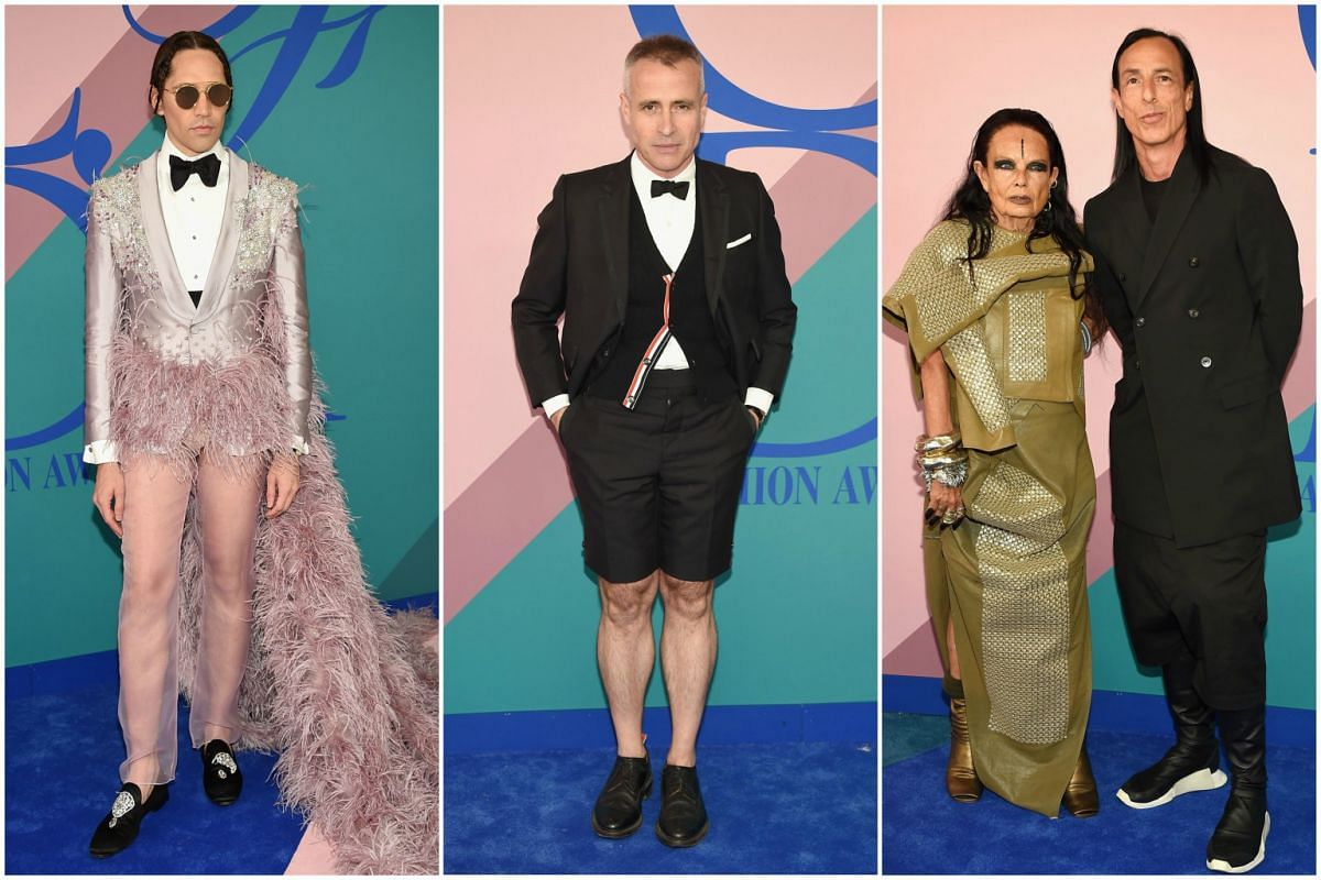 Di Mondo, in his latest fashion statement, designer Thom Browne, Michele Lamy and designer Rick Owens spicing up the 2017 CFDA Fashion Awards in New York City on Monday (June 5).