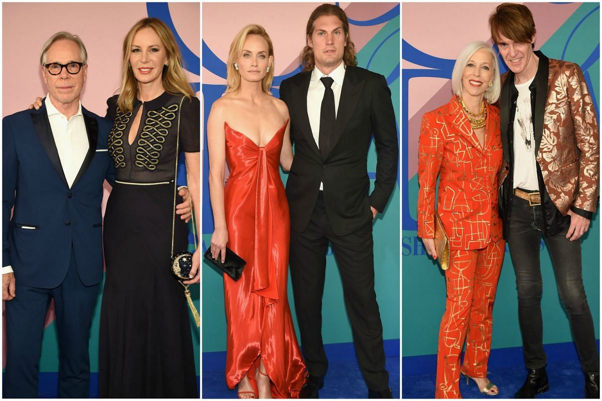 Designer couple Tommy Hilfiger and Dee Ocleppo Hilfiger, model Amber Valletta, hairstylist Teddy Charles, and fashion directors Linda Fargo and Ken Downing at the 2017 CFDA Fashion Awards in New York City on Monday (June 5).