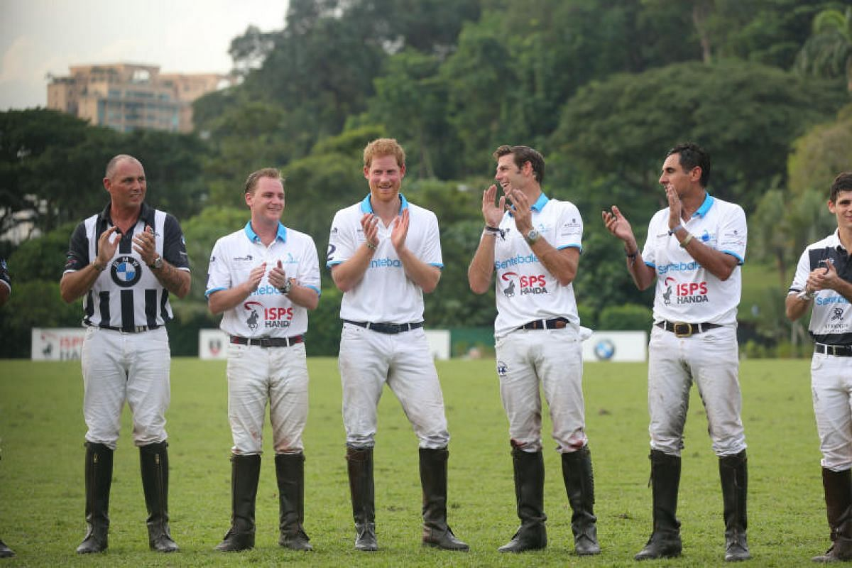 Prince Harry (third from left) at the prize presentation of the Sentebale Royal Salute Polo Cup. Sentebale is the Princes' foundation for children in Africa.
