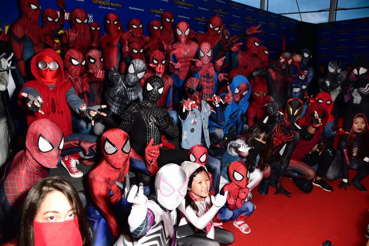 Over 50 Spider-Man fans dressed up at the ArtScience museum at the Spider-Man movie red carpet.