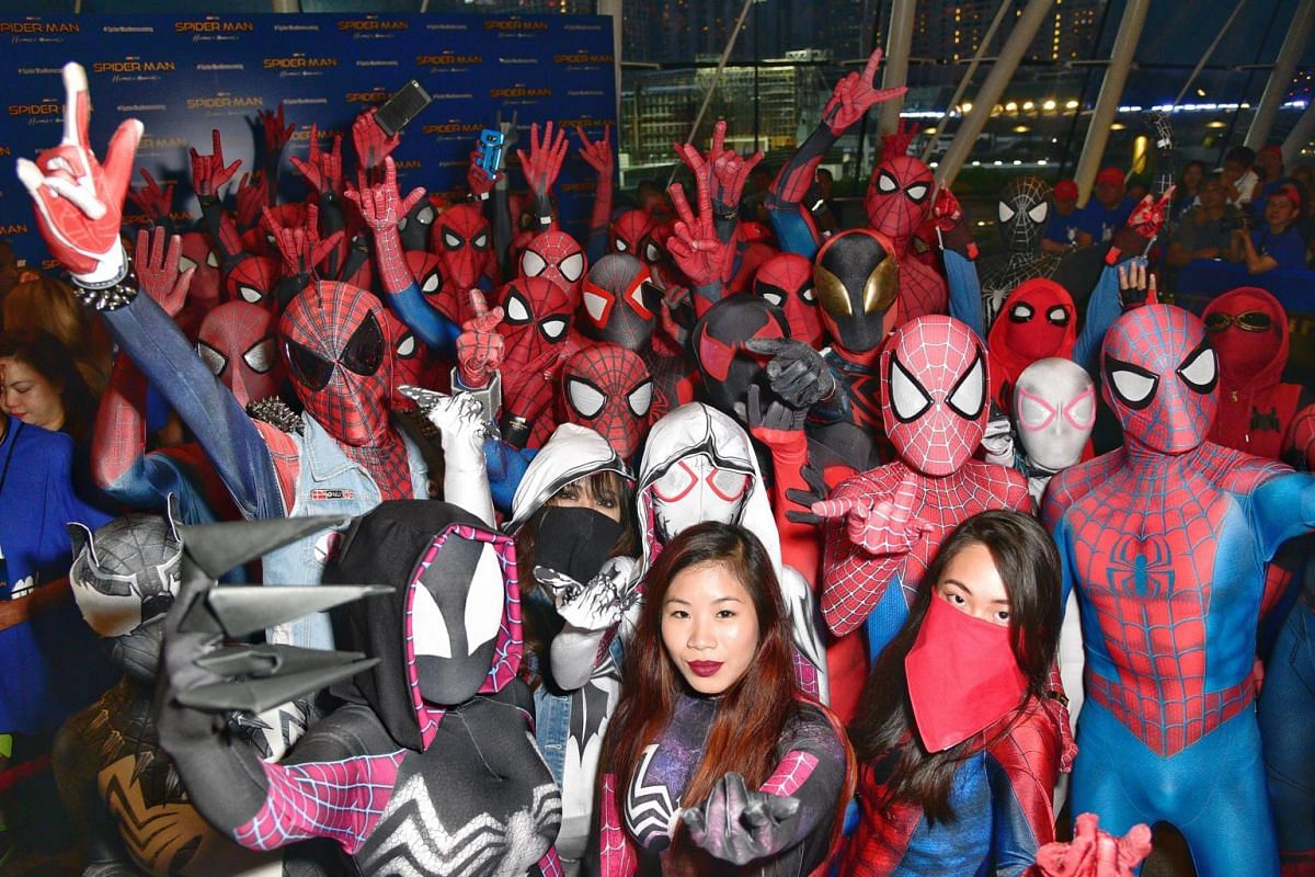Over 50 Spider-Man fans dressed up at the Art Science Museum for the Spider-Man movie red carpet on June 7, 2017.