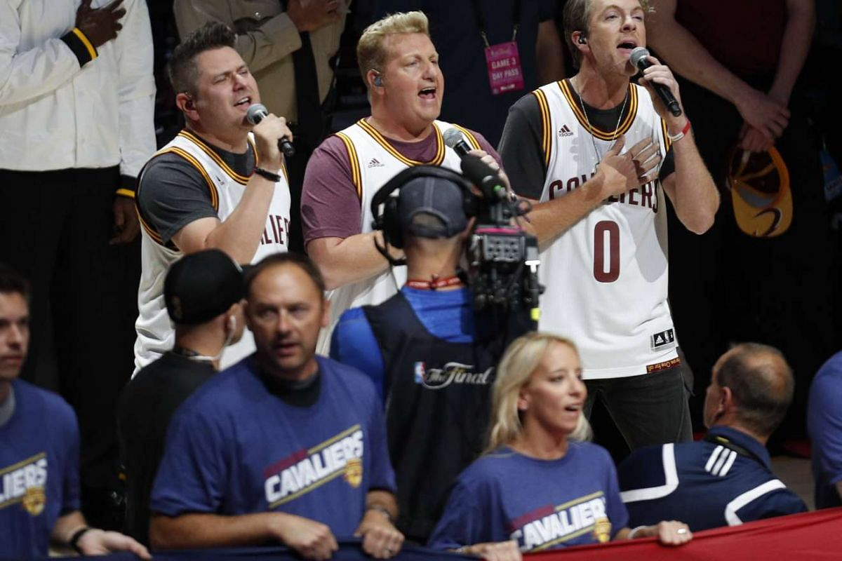 Country music band Rascal Flatts perform the national anthem before the start of the NBA Finals basketball game three.