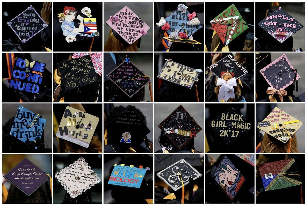 This combination photo shows graduates' mortar board hats emblazoned with decorations and sayings during a commencement for Medgar Evers College in the Brooklyn borough of New York City, New York, U.S. June 8, 2017. PHOTO: REUTERS