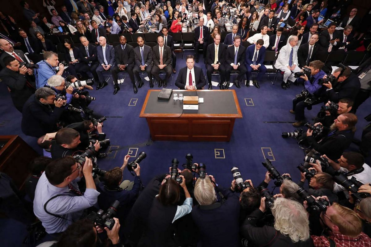 Former FBI Director James Comey prepares to testify before the Senate Intelligence Committee on Capitol Hill, in Washington, June 8, 2017. PHOTO: THE NEW YORK TIMES