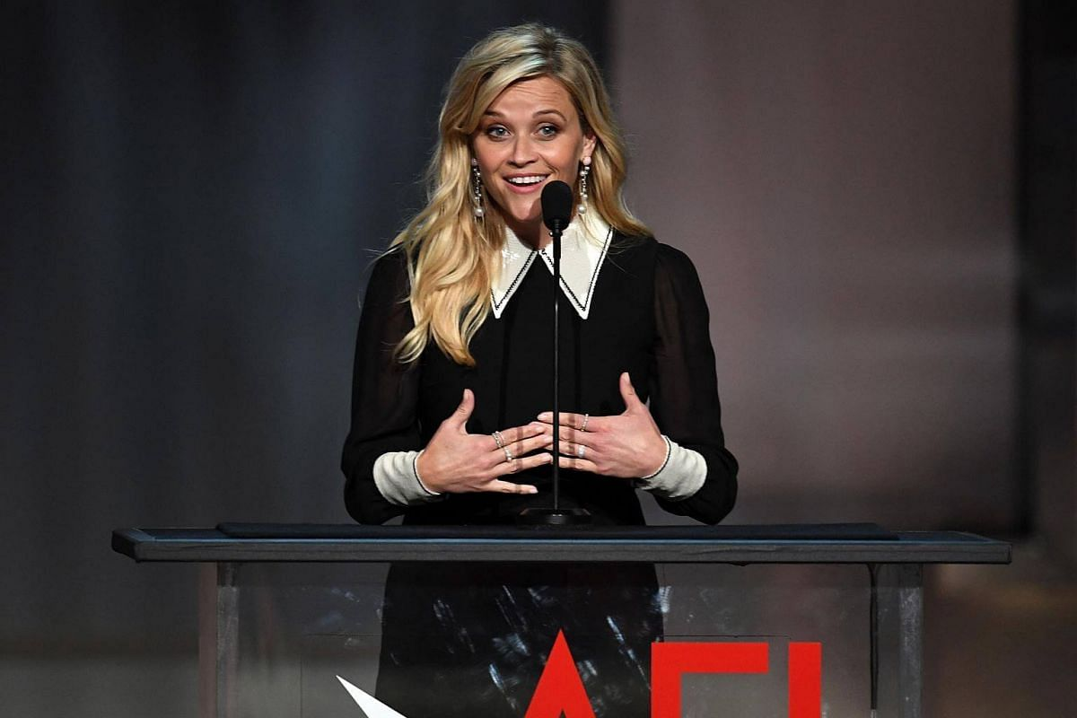 Actress Reese Witherspoon speaking onstage during American Film Institute's 45th Life Achievement Award Gala Tribute to Diane Keaton at Dolby Theatre in Hollywood, California, on June 8, 2017.