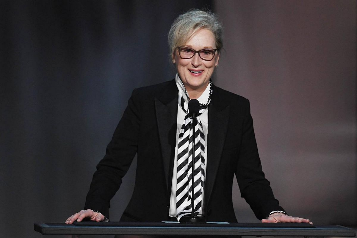 Actress Meryl Streep speaking onstage during American Film Institute's 45th Life Achievement Award Gala Tribute to Diane Keaton at Dolby Theatre in Hollywood, California, on June 8, 2017.