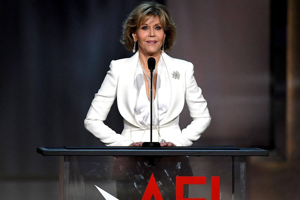 Actress Jane Fonda speaking onstage during American Film Institute's 45th Life Achievement Award Gala Tribute to Diane Keaton at Dolby Theatre in Hollywood, California, on June 8, 2017.