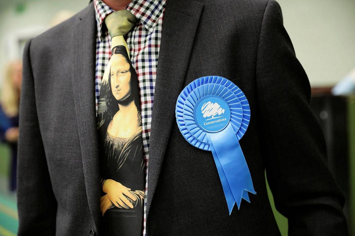 A Conservative Party activist waiting at a counting centre for Britain's general election in Hastings, on June 8, 2017.