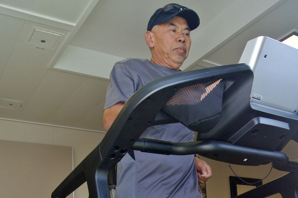 Keeping to a strict daily routine, Capt Nordin wakes up at 3am, and exercises on the treadmill in the ship's gym after his morning prayers.