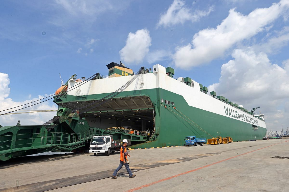 The MV Parsifal docking at Jurong Port on May 17, before embarking on a four-month voyage around the world.