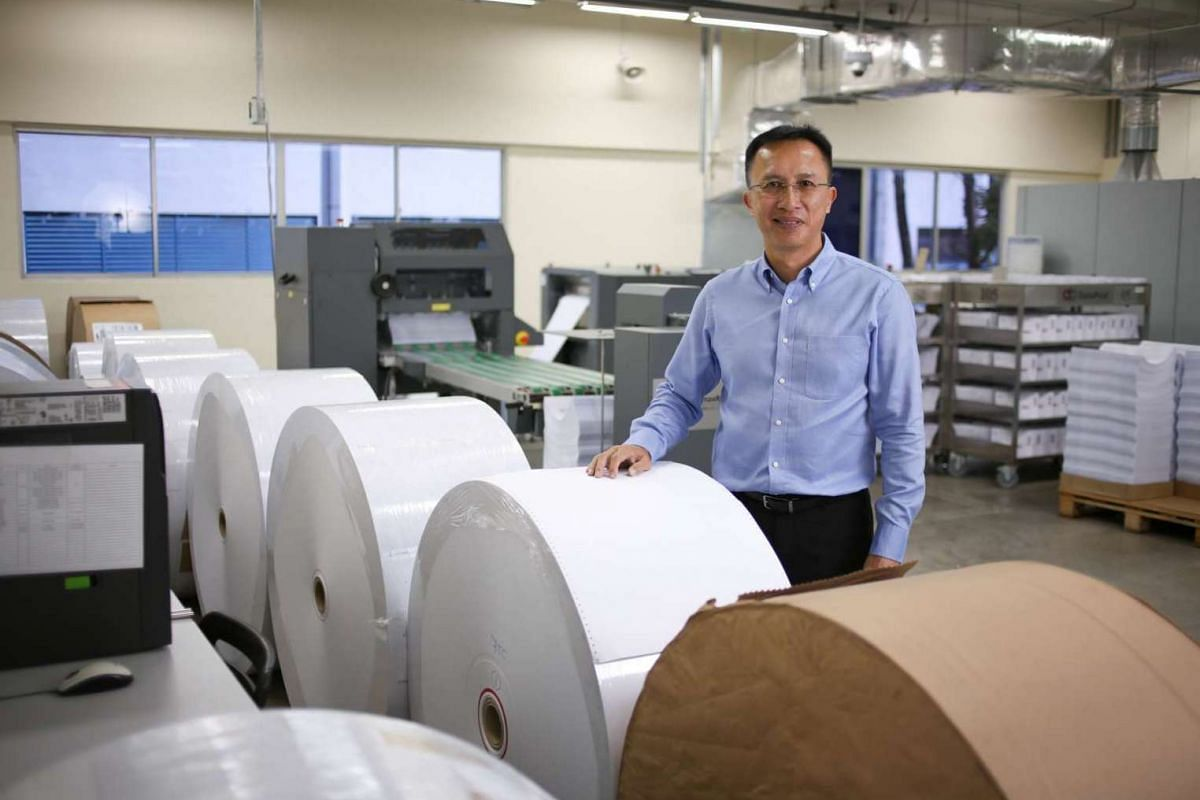 Mr Thomas Wee, 55, at the office of DataPost, one of the companies under the Jing King Tech Group.
