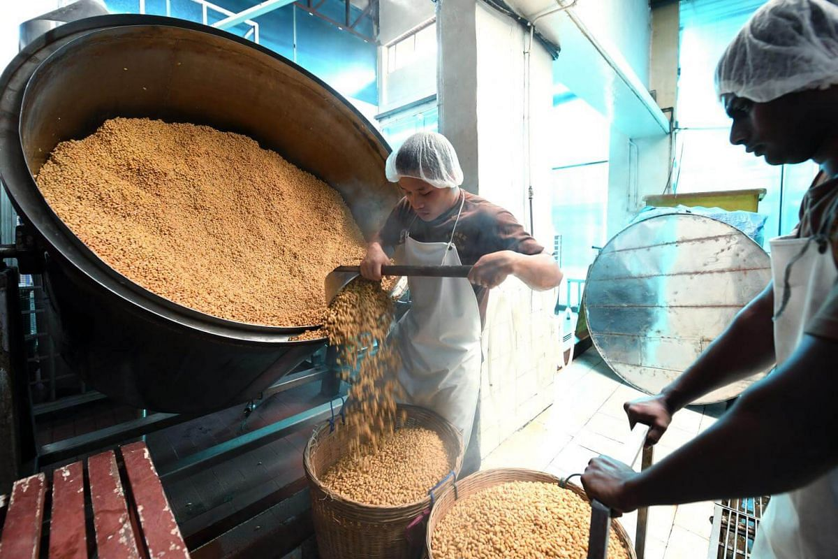 Soya beans that have undergone hours of steaming being transferred to baskets for cooling down before they are coated by hand with wheat flour and a fermenting agent.