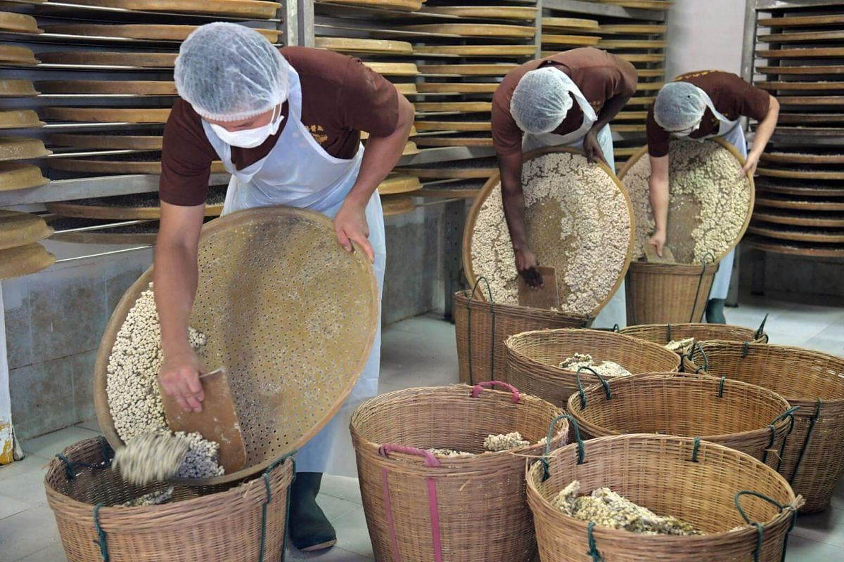 After four to seven days of fermenting in an enclosed room, the beans are scraped into baskets to be transferred to the vats and containers waiting in the courtyard.