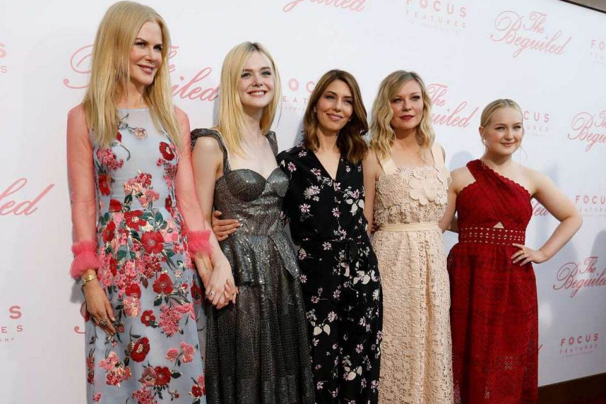 Director Sofia Coppola (centre) with cast members (from left) Nicole Kidman, Elle Fanning, Kirsten Dunst and Emma Howard at the premiere of The Beguiled on Monday.