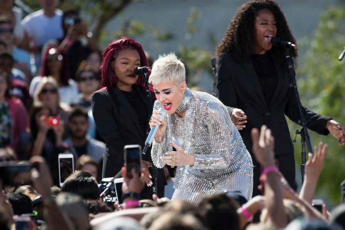 Singer Katy Perry reaching out to her fans.