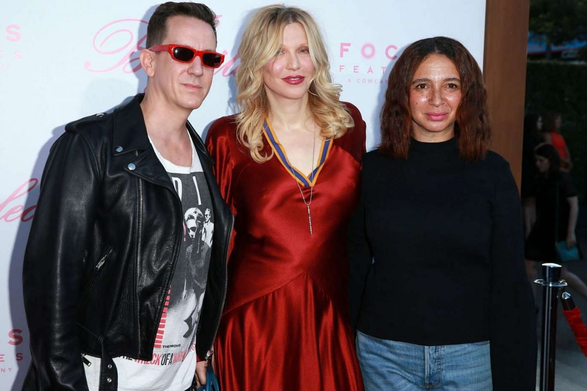 (From left) Fashion designer Jeremy Scott, singer/actress Courtney Love and actress Maya Rudolph enjoying a night out at the premiere of Focus Features' The Beguiled.
