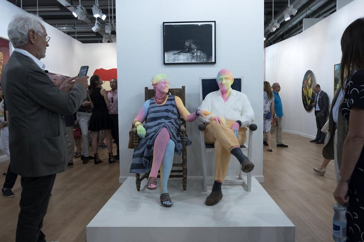 A sculpture of Bruno Bischofberger and his wife by New York based Swiss artist Urs Fischer is on display at the international art show Art Basel, in Basel, Switzerland on June 13, 2017.
