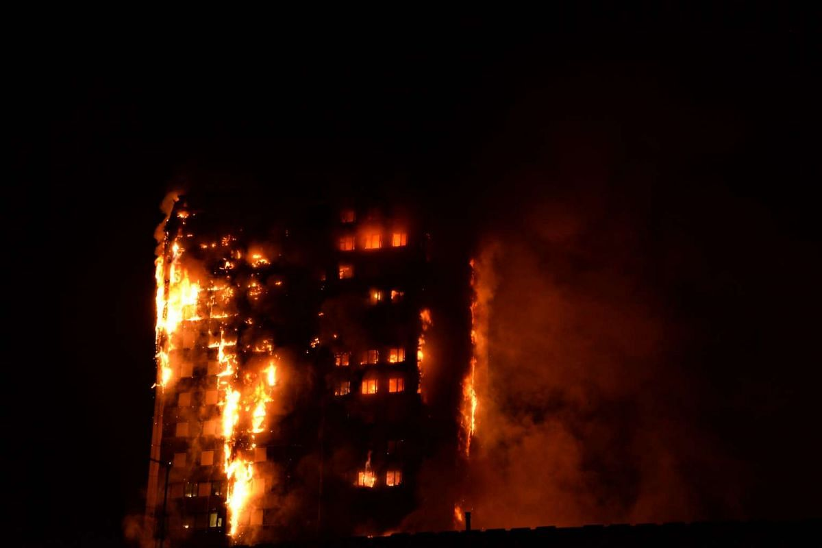 Flames engulfed a 27-storey block of flats in west London. The fire brigade said 40 fire engines and 200 firefighters had been called to the blaze in Grenfell Tower, which has 120 flats.