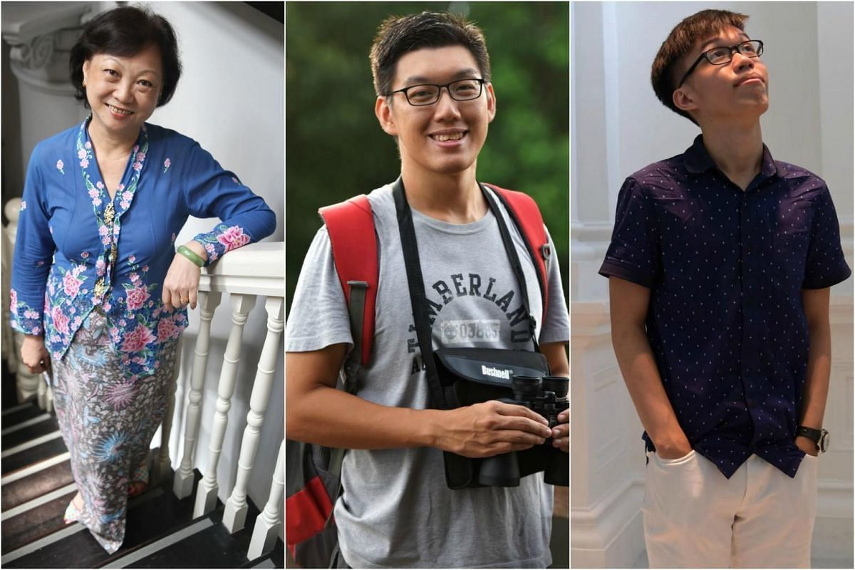 Madam Shia Ai Lee (left), a retired secretary trained to guide at 10 museums, galleries and heritage landmarks in Singapore, Ivan Kwan (centre), a full-time nature guide and Arthur Tan (right), qualified guide in the museums of Singapore.