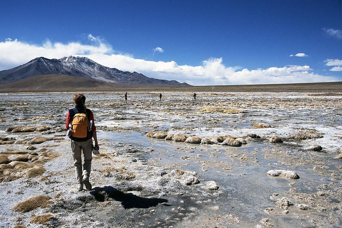 Walking through a salt lake in the Atacama Desert in Chile.