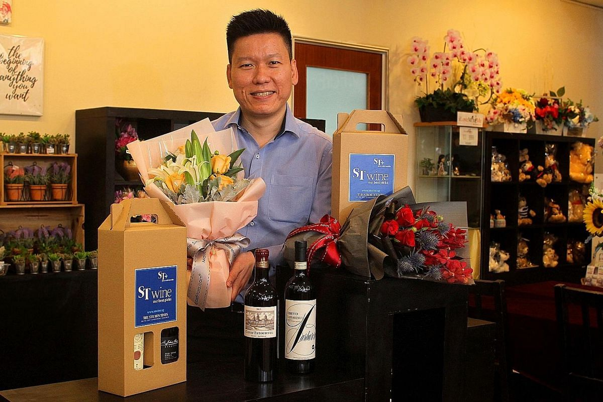 Mr Ryan Chioh, managing director of FarEastFlora.com, which is collaborating with ST Wine to present readers with a selection of wine and floral gift sets.