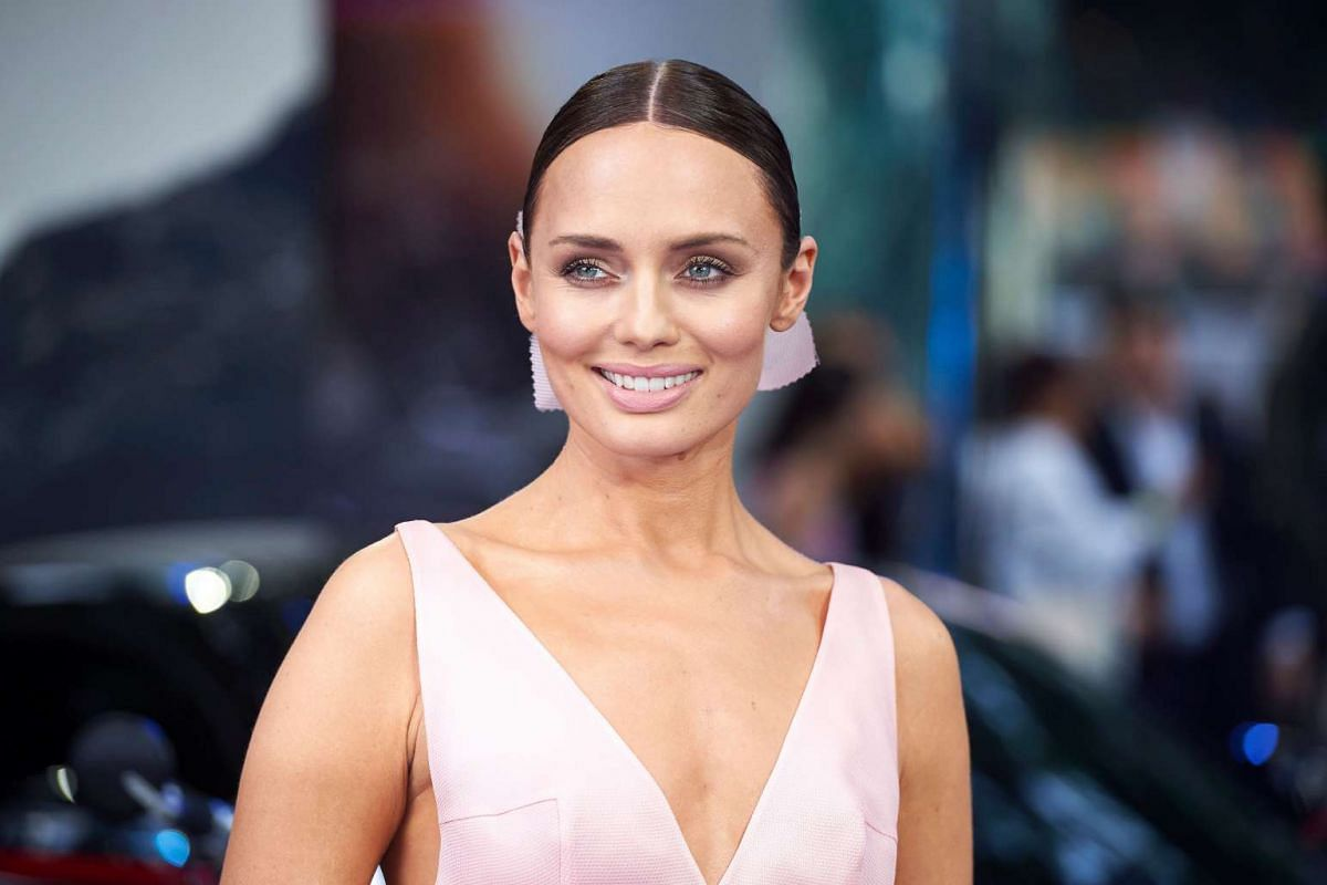 British actress Laura Haddock poses upon arrival for the global premiere of the film Transformers: The Last Knight in central London on June 18, 2017.