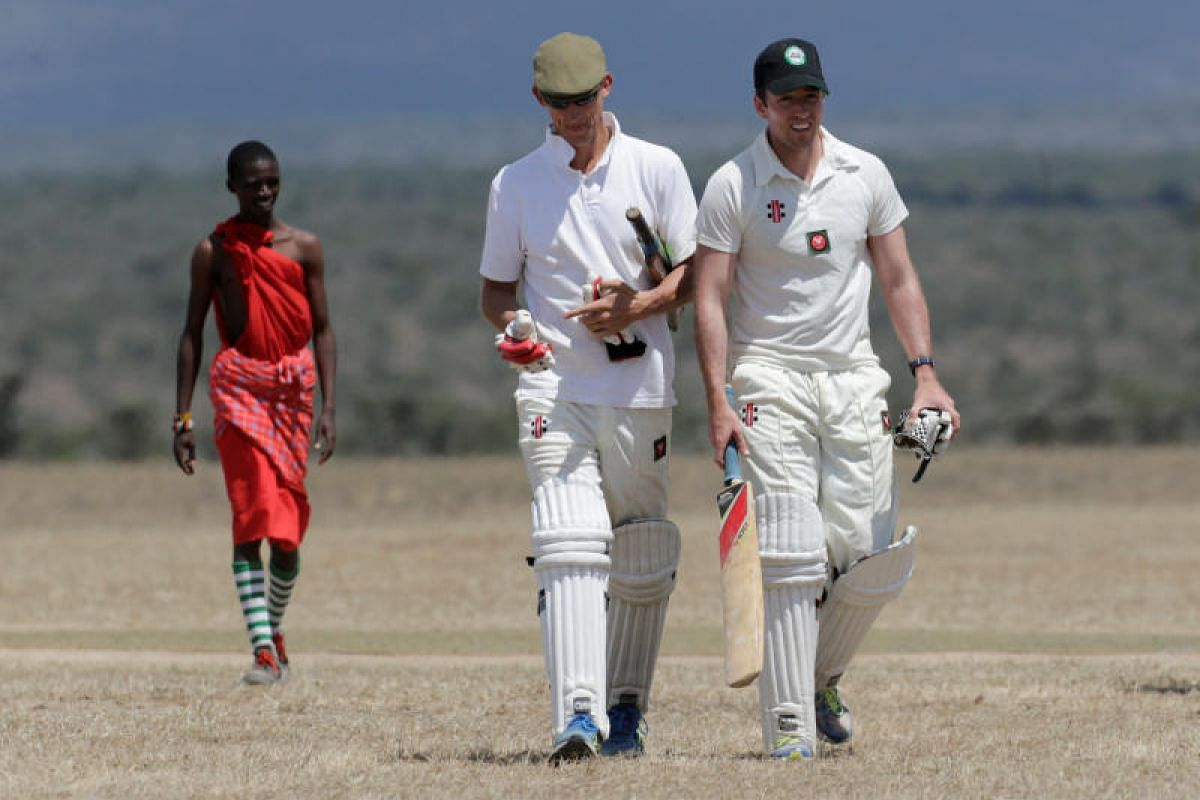 It's no stroll in the park in the sizzling heat for BATUK players Richard Martin and Fin Bibby.