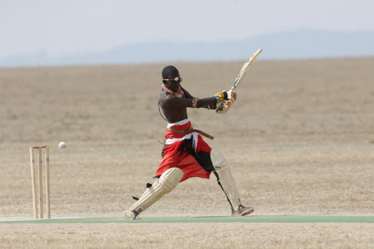 He'll probably answer with pride if someone calls him Captain Charity. Francis Ole Meshami, captain of the Maasai Cricket Warriors, puts his batting skills to good use during the charity event in aid of the rhinos.