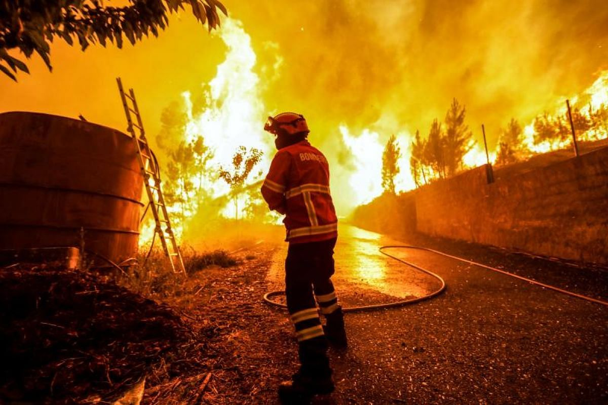 A firefighter battling a fire in Pampilhosa da Serra in central Portugal on Sunday (June 18).
