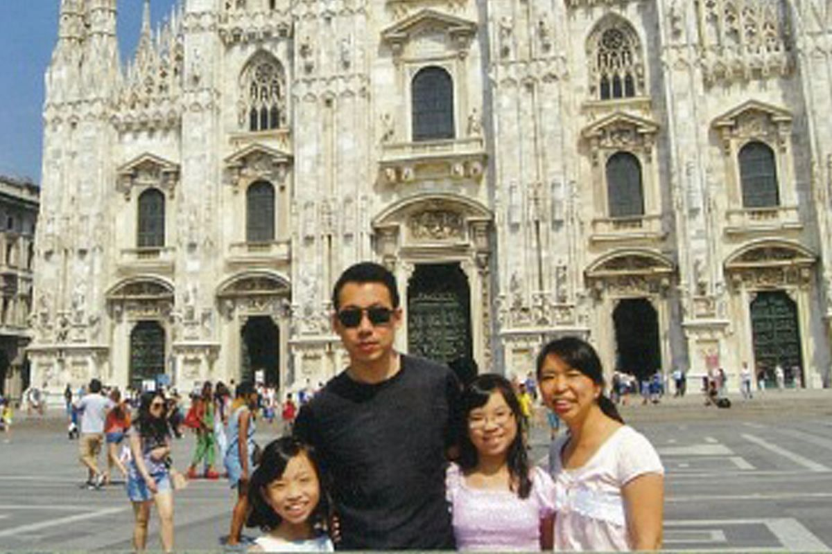 My life so far: Mr Chris Chong with his wife and daughters in Milan in 2014 (above) and at the Bandstand in Botanic Gardens in 1979.